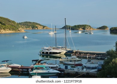 Rab island, Croatia - July 21, 2018: Boats in the bay of Supetarska Draga, a quiet place on Rab island.  South-east Europe.
