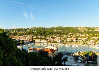 Rab Island, Primorje-Gorski Kotar / Croatia - 28 08 2014: Panorama of the harbor of Rab Croatia. Boats on water in background Rab Town entrance to bay..