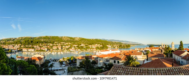 Rab Island, Primorje-Gorski Kotar / Croatia - 28 08 2014: Panorama of the harbor of Rab Croatia. Boats on water in background Rab Town entrance to bay..