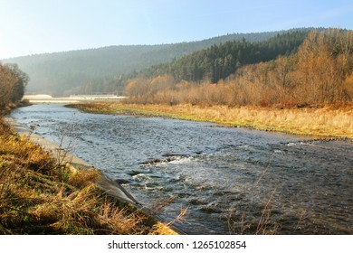 The Raba river in Myslenice. Beautiful autumn landscape in Poland.