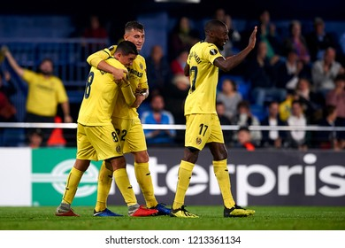 Raba of Villarreal celebrates goal with teammates Fornals and Ekambi during the match of the Europa League between Villarreal CF and Rapid Wien at La Ceramica Stadium Villarreal, Spain