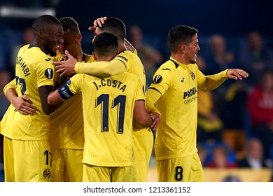 Raba of Villarreal celebrates goal with teammates Fornals, Jaume Costa and Ekambi during the match of the Europa League between Villarreal CF and Rapid Wien at La Ceramica Stadium Villarreal, Spain.