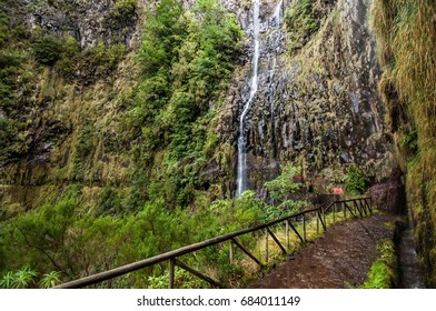 Rabacal valley with waterfall in Madeira, Portugal