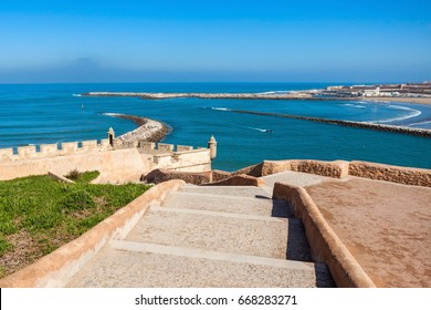 Rabat beach aerial panoramic view from the Kasbah of the Udayas fortress in Rabat in Morocco. The Kasbah of the Udayas is located at the mouth of the Bou Regreg river in Rabat, Morocco.