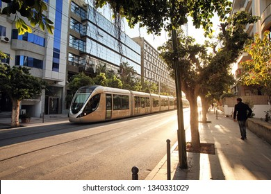 RABAT JULY 23 2017 Morocco: Rabat tram in urban area in the rays of the sun. The tram system was commissioned on May 23rd, 2011 in Rabat, Morocco