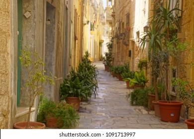 RABAT, MALTA - APR 19, 2018 - Narrow medieval street in Rabat, Malta