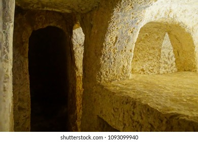RABAT, MALTA - APR 19, 2018 - Rock cut Christian tombs in the Catacombs of St Paul, Rabat, Malta