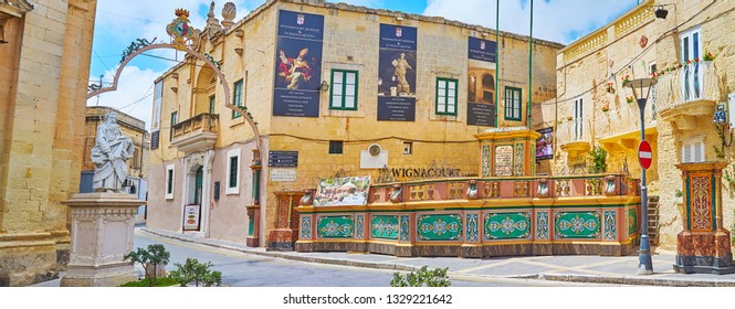RABAT, MALTA - JUNE 16, 2018: Panorama of historical Wignacourt residence (now museum), located in St Paul's square and famous for St Paul's Grotto, connected with it, on June 16 in Rabat.