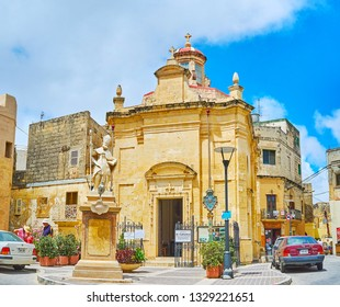 RABAT, MALTA - JUNE 16, 2018: The facade of small St Cataldus Church, located in old town of Rabat and famous for the ancient catacombs, on June 16 in Rabat.