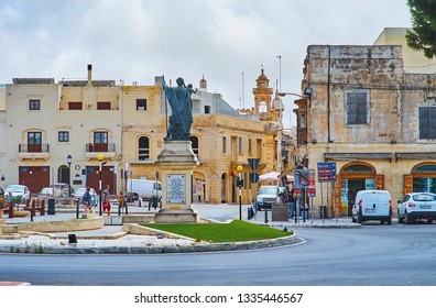 RABAT, MALTA - JUNE 16, 2018: The old Museum square separates two medieval Maltese cities - Rabat and Mdina, the statue of St Joseph decorates the square, facing old Rabat, on June 16 in Rabat.