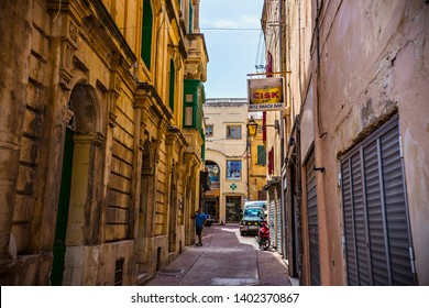 RABAT, MALTA - October 2018: Old narrow street of Rabat, traditional Maltese architecture, Rabat cityscape, Malta