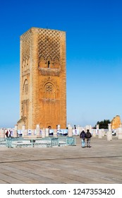 "Rabat, Morocco, 12/03/2012, Hassan Mosque. XII century. Minaret ""Of The Hassan Tower"". The symbol of Morocco is the mosque of Hassan and its famous minaret ""tower of Hassan"" were laid by order of Sult"