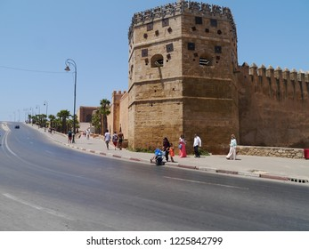 Rabat, Morocco / Morocco - August 2016: Part of the old city wall in Rabat
