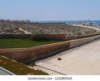 Rabat, Morocco / Morocco - August 2016: View over a cemetery in Rabat