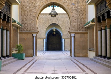 RABAT, MOROCCO, AUGUST 29: Arabic style entrance to the King's Palace in Rabat. Morocco