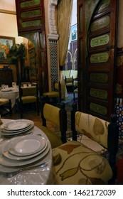 RABAT, MOROCCO - FEB 11, 2019 - Dining room of the gourmet restaurant at Dar Rabatia, Rabat, Morocco, Africa