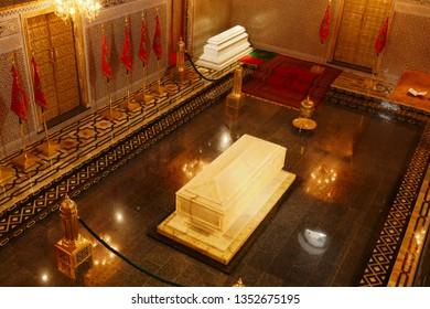 RABAT, MOROCCO - FEB 12, 2019 - Interior with tomb, Mausoleum of  Mohammad V, Rabat, Morocco, Africa