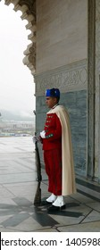 RABAT, MOROCCO - FEB 12, 2019 - Guard in traditional uniform, Mausoleum of  Mohammad V, Rabat, Morocco