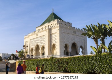 Rabat, Morocco - February 22.2019: The Mausoleum of Mohammed V on the Yacoub al-Mansour esplanade in Rabat, Morocco