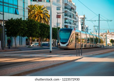 Rabat, Morocco - February 5, 2018: Modern French built tram in the centre of Rabat. The Rabat-Sale tramway system consists of 2 lines