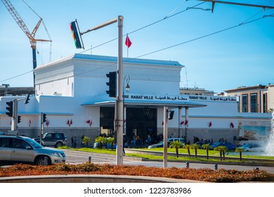 Rabat, Morocco - Jan 17, 2017: Railway Station Rabat Ville is the main train station in Rabat