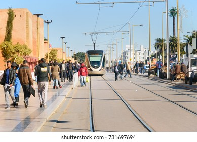 Rabat, Morocco - Jan 17, 2017: Modern tram in the centre city near Medina.Rabat-Sale tramway is tram system in Rabat and Sale opened on 23 May 2011