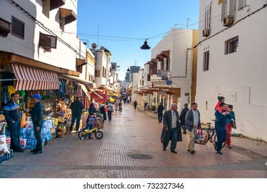 Rabat, Morocco - Jan 17, 2017: On the street of old town Medina. Rabat is the capital city of Morocco and its second largest city