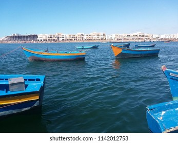 Rabat / Morocco - July 15 2018: Fishing boats along the pier in Rabat.