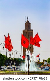 RABAT, MOROCCO - JULY 23, 2014: Flags on the street in in new part of Rabat, Morocco. The city is located on the Atlantic Ocean at the mouth of the river Bou Regreg Rabat, Morocco.