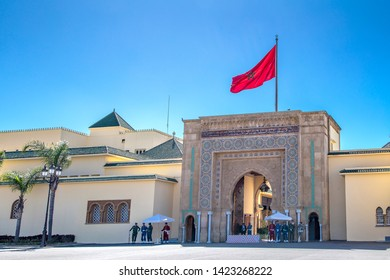 RABAT/ MOROCCO - MARCH 22, 2019 : Rabat palace with Red flag against blue sky