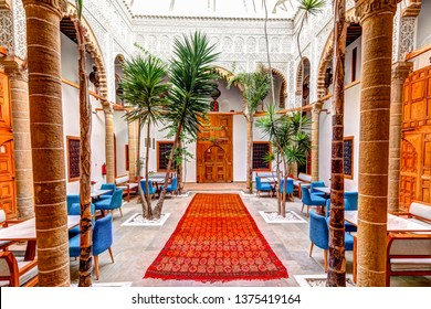 Rabat, Morocco - March 23, 2019: Interior of a Riad in the old town of Rabat