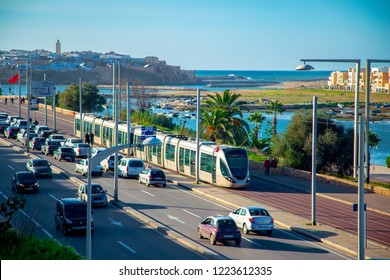 RABAT, MOROCCO - MAY 21: Tram on the bridge over the Bou Regreg river in Rabat. May 21, 2018 in Rabat, Morocco