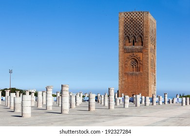 Rabat. Morocco. Mosque Yakub al-Mansur and Hassan Tower.