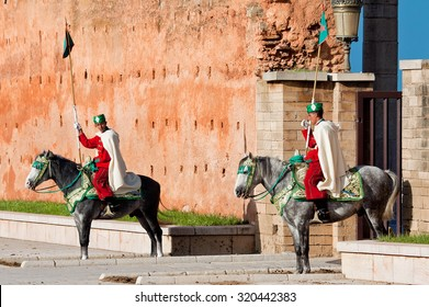 RABAT, MOROCCO - NOVEMBER 25: Royal guard in front of Hassan Tower and Mausoleum of Mohammed V. Mausoleum contains tombs of late King Hassan II and Prince Abdallah. November 25, 2014 in Rabat, Morocco