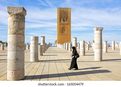 RABAT, MOROCCO - OCTOBER 15 2013: Hassan Tower is the minaret of an incomplete mosque .Begun in 1195, the tower was intended to be the largest minaret in the world in Rabat Morocco