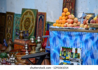 Rabat, Morocco - October 25, 2018: Goods for sale for visitors of medina of Rabat, Morocco