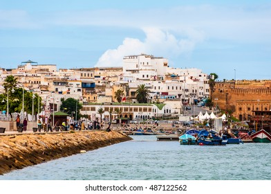 Rabat, Morocco - old buildings and embankment with fishing boats