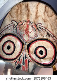 Rabaul, Papua New Guinea, November 12, 2015. Fearsome Wooden Tribal Mask in the New Guinea Club and Rabaul Museum, Rabaul, PNG