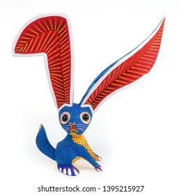 Rabbit bunny alebrije wood carving sculpture mexican folk art decor oaxacan