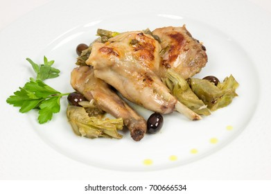 Rabbit cooked in the Liguria
