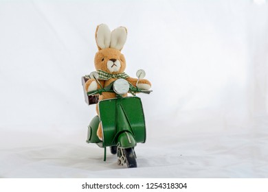 rabbit doll on motorcycle toy