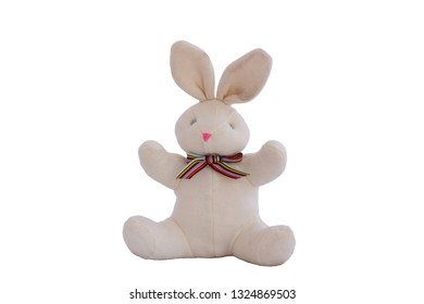 Rabbit Doll Sitting,  isolated on white