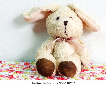 rabbit doll with space for copy background