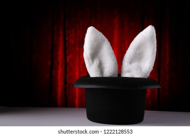 Rabbit ears coming out of magician's hat