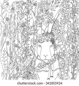 Rabbit in flowers. Hand drawn illustration.