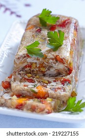 Rabbit galantine aspic with vegetables for Christmas
