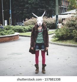 rabbit head woman in the city
