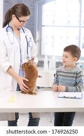 Rabbit of little boy at pets' clinic, veterinary examining pet animal.