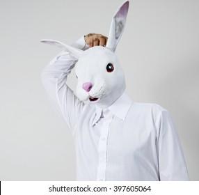 Rabbit man scratches his head