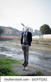 rabbit mask man in a desolate landscape river